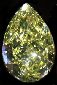 A 110 carat yellow diamond named the 'Cora Sun-Drop' and was offered for sale at an auction on November 15, 2011 by Sotheby's Magnificent Jewels in Geneva, Switzerland